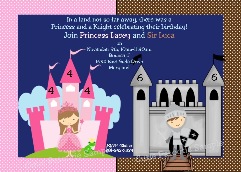 Princess Knight Birthday Invitation Printable or Printed – Knight Birthday Invitations
