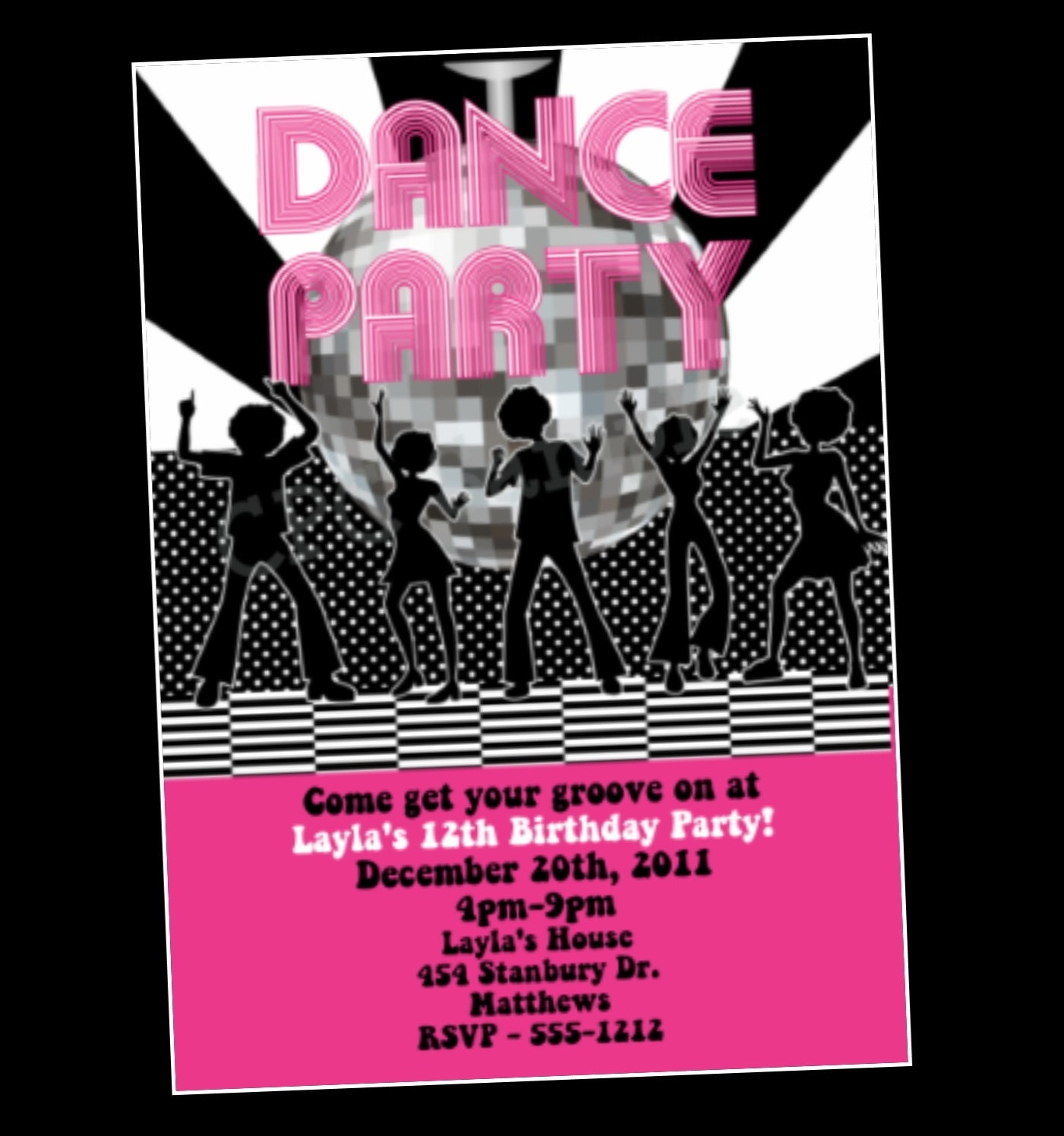 disco dance party birthday invitation by onewhimsychick on
