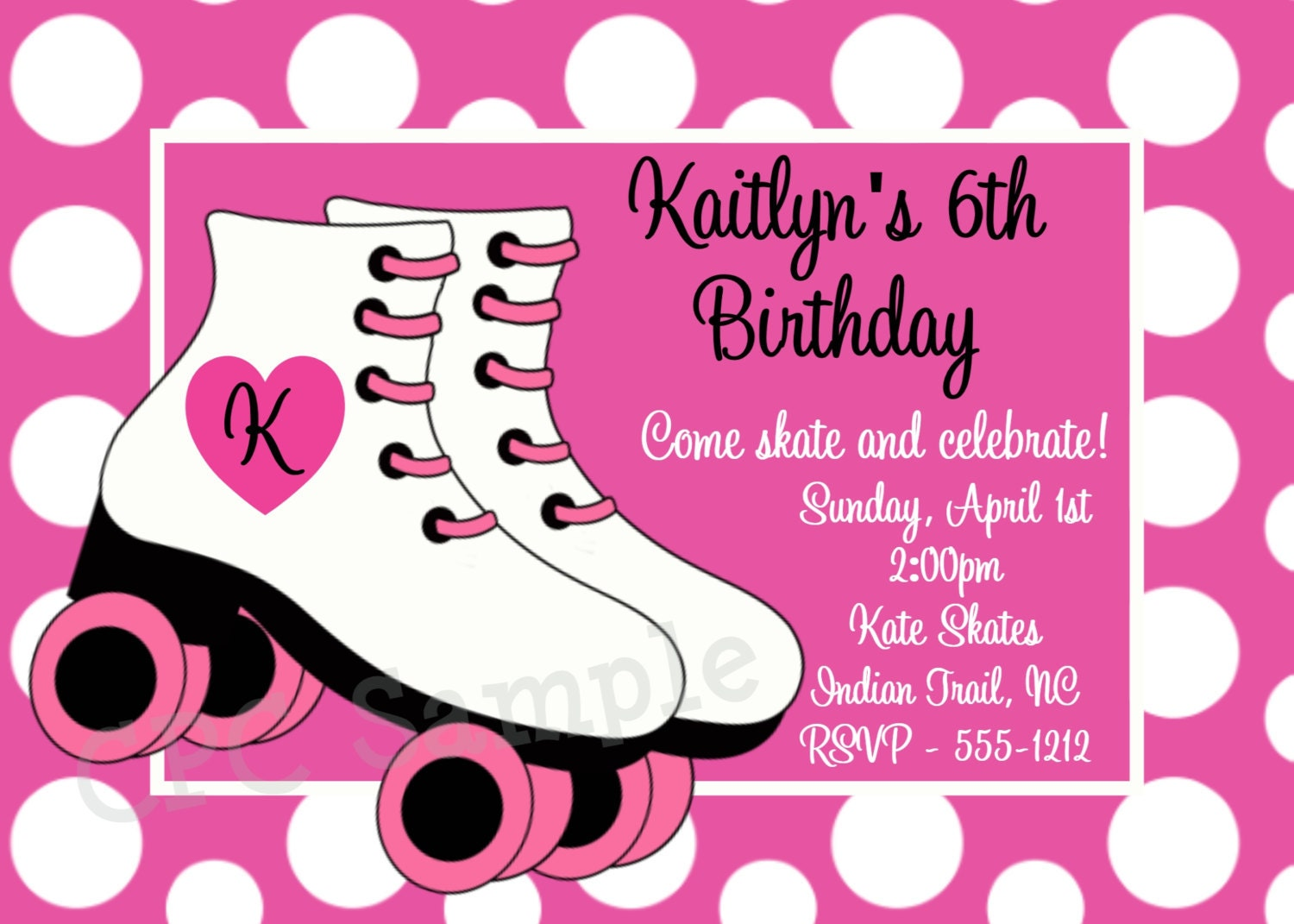 Rollerskating Birthday Invitation Printable or Printed