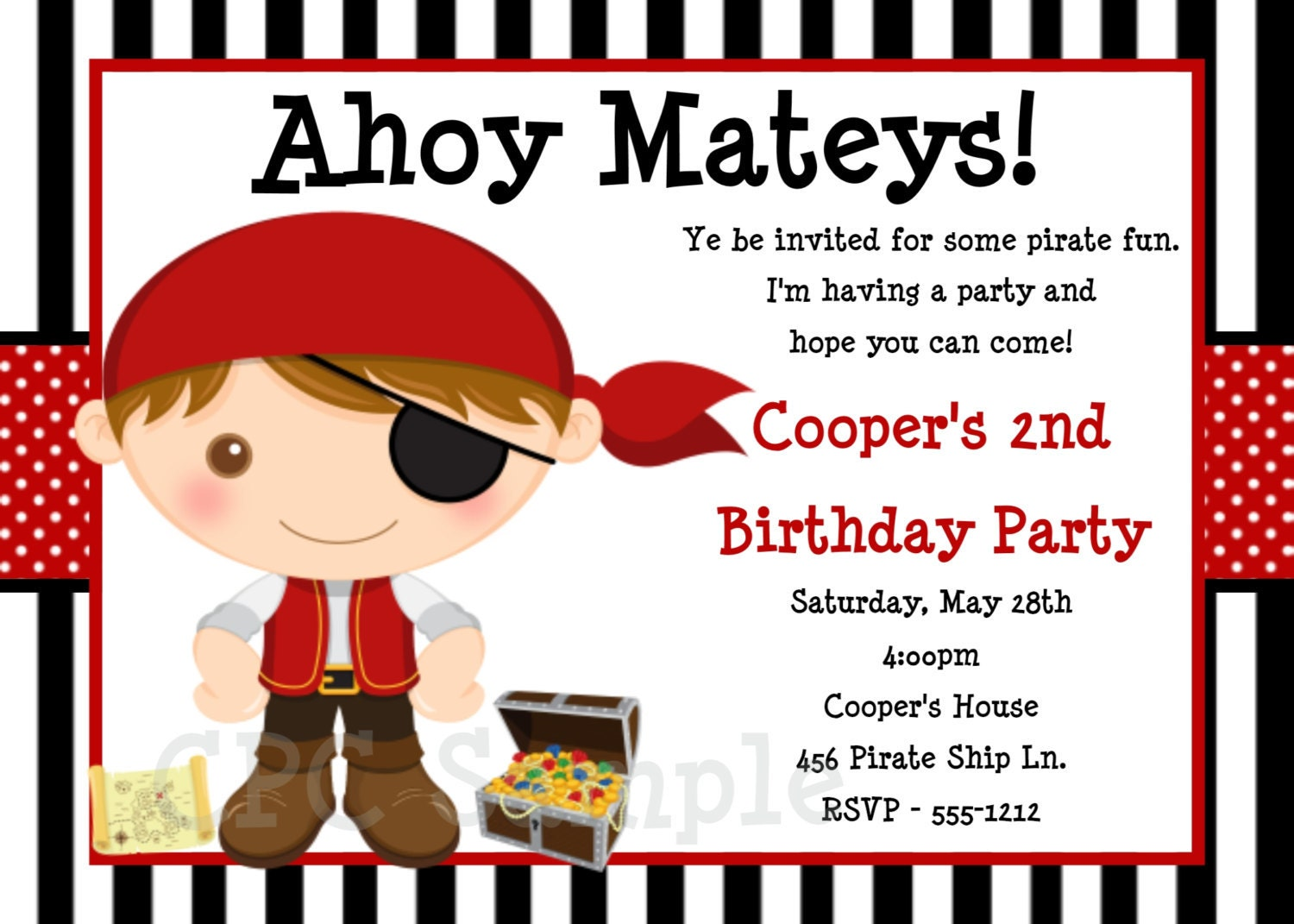 Pirate Birthday Invitation Pirate Party Invitations – Pirate Party Invites