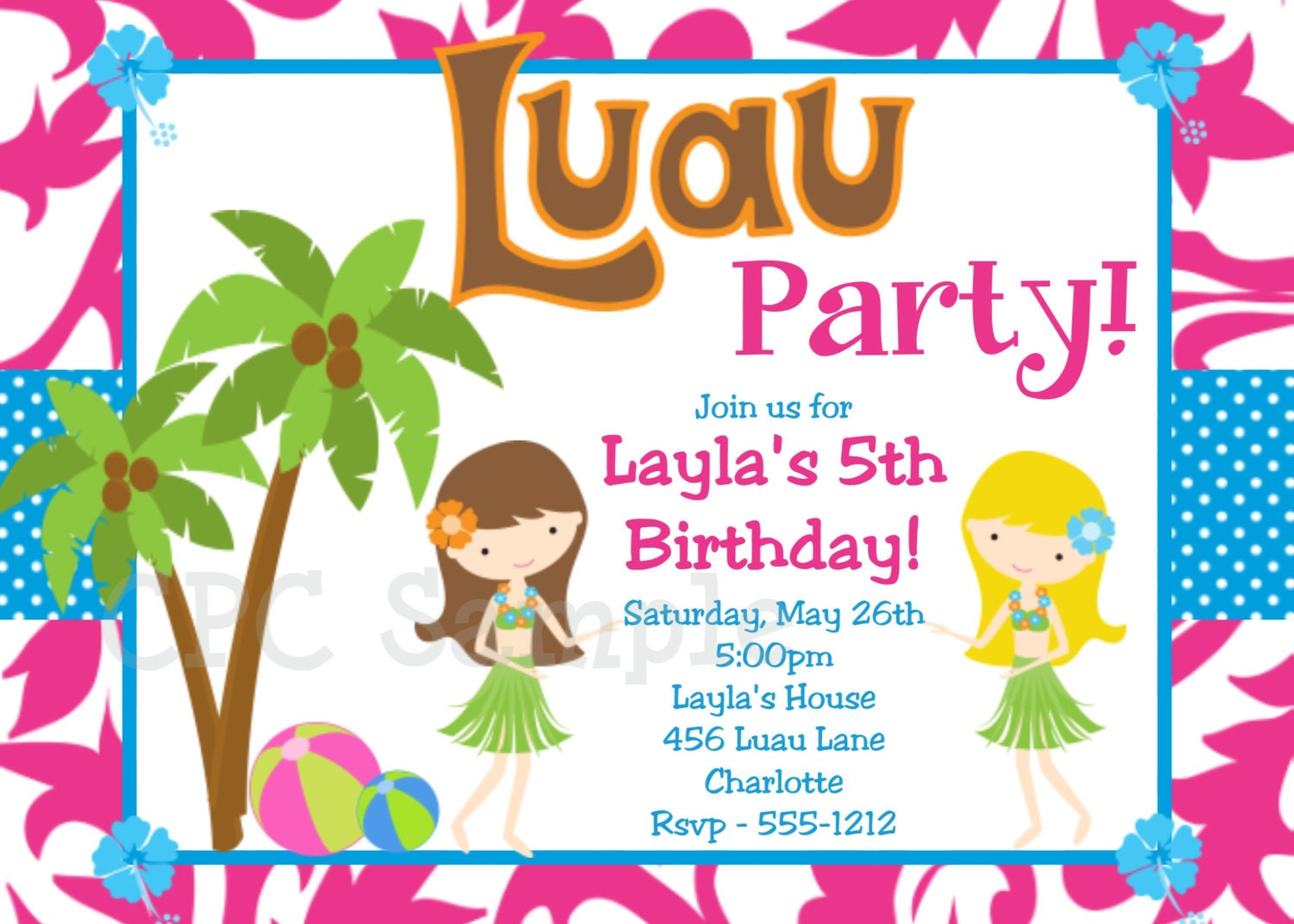 Luau Birthday Invitation Luau Party Invitations Printable or