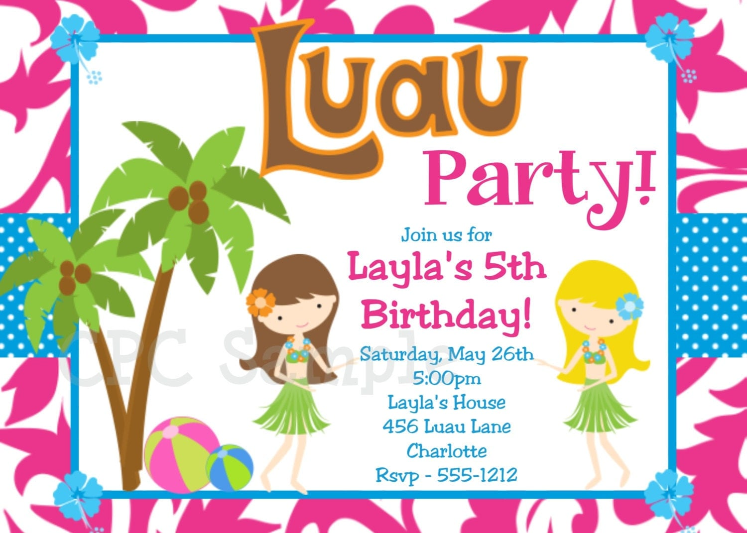 Luau Birthday Invitation Luau Party Invitations Printable or – Printed Birthday Invitations