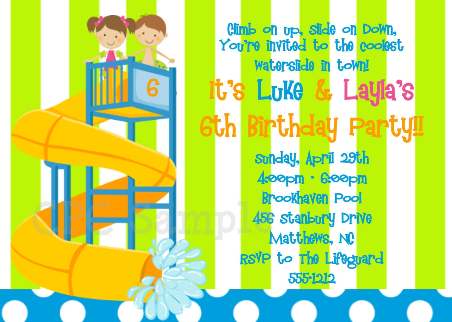 Pool Party Invitation Printable or Printed Water Slide – Water Slide Party Invitations