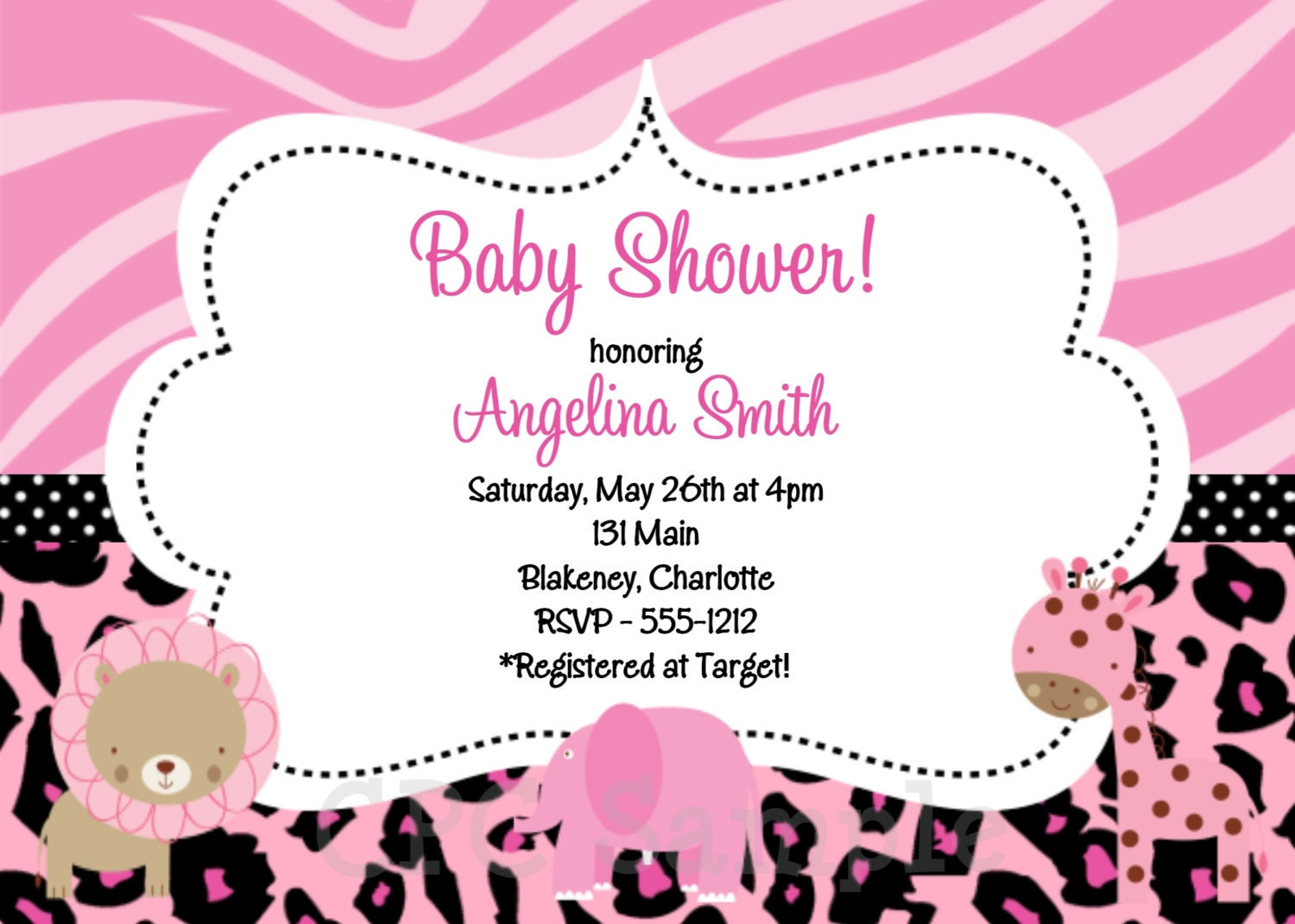 pink safari baby shower invitations pink safari by onewhimsychick