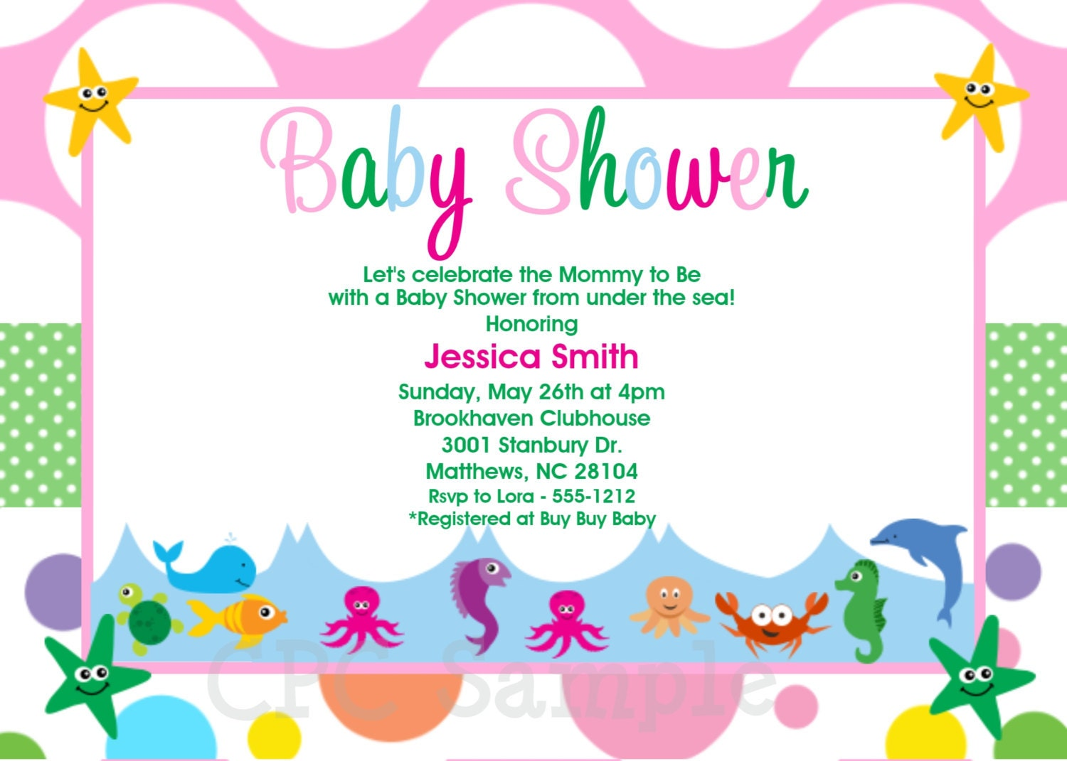 under the sea baby shower invitations printable or printed