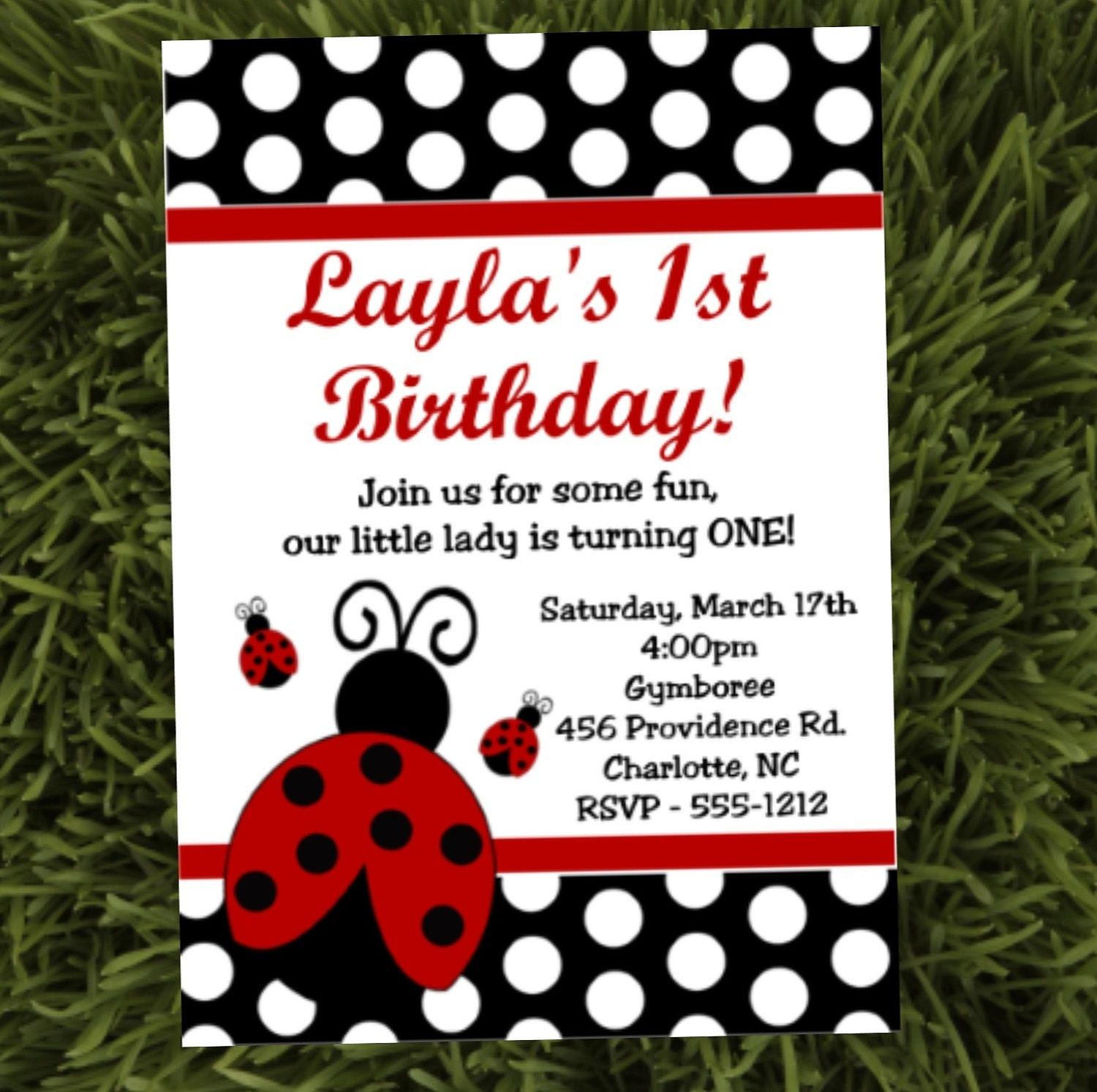 Ladybug Birthday Party Invitations Printable or Printed – Ladybug Invitations 1st Birthday