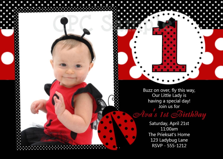 ladybug 1st birthday invitation template – Free First Birthday Invitation