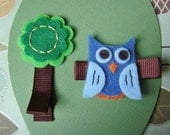 Felt Owl and Tree Hair Clips