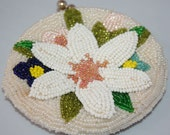 Vintage Beaded Coin Purse flower Lovely