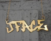 Sterling Silver 18k gold plated Graffiti Plate Necklace