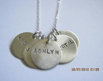 sterling silver 5 disc necklace-personalized