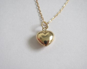 14k gold Puffy Heart with Gold Filled Chain