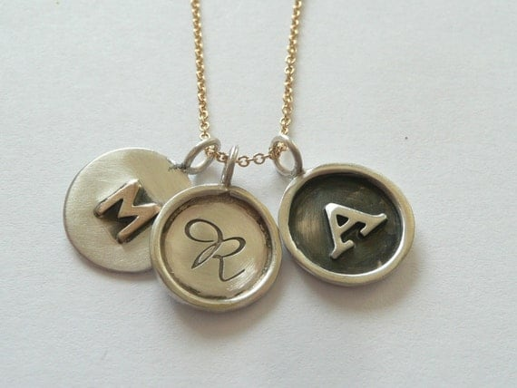 Sterling Silver 14k Gold Initial Disc Necklace
