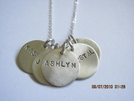 sterling silver 5 disc necklace