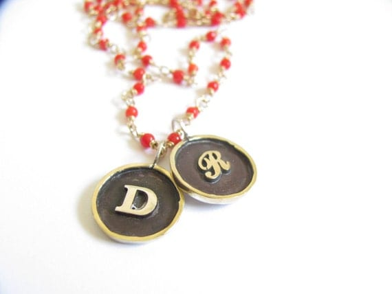 Coral Beaded Framed Disc Necklace