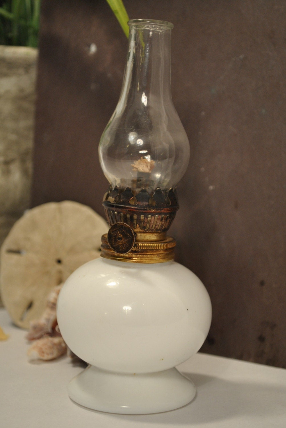Vintage Miniature Milk Glass Oil Lamp By Sweetgraffiti On Etsy