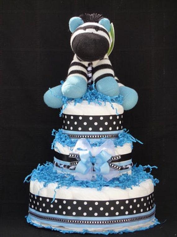 Zebra Boy Diaper Cake Blue Baby Shower Centerpiece
