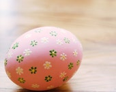 pink wooden easter egg with embossed flowers easter decoration hand painted easter egg by oscar & ollie in stock