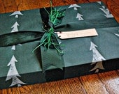 hand painted wrapping paper silver christmas trees on green paper