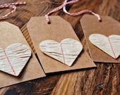 Valentine's gift tags Kraft valentine tags Stitched heart tags Handmade valentine tags