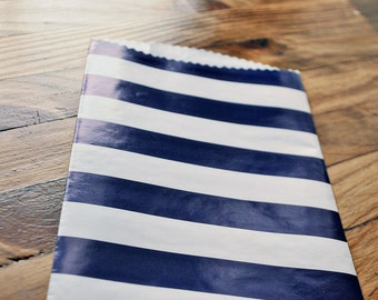 Navy white stripe treat bag Striped favor bag Wedding favor bag Paper treat bag Birthday favor bag by oscar & ollie