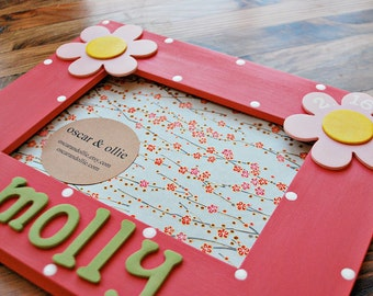 Flower picture frame for children Hand painted frame Personalized frame for girl by oscar & ollie