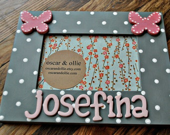 Personalized butterfly frame Hand painted frame for girls Butterfly picture frame by oscar & ollie