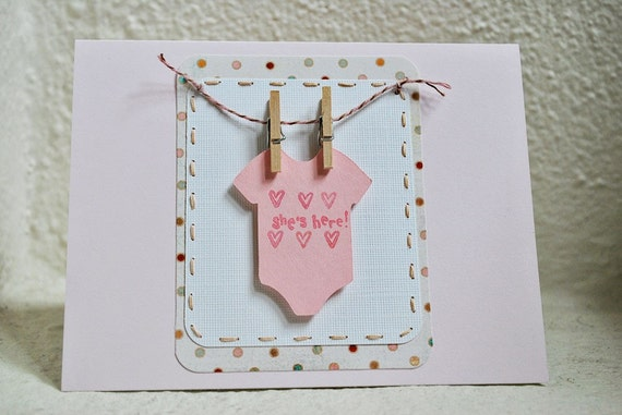 baby card baby shower card handmade greeting card outfit on clothesline
