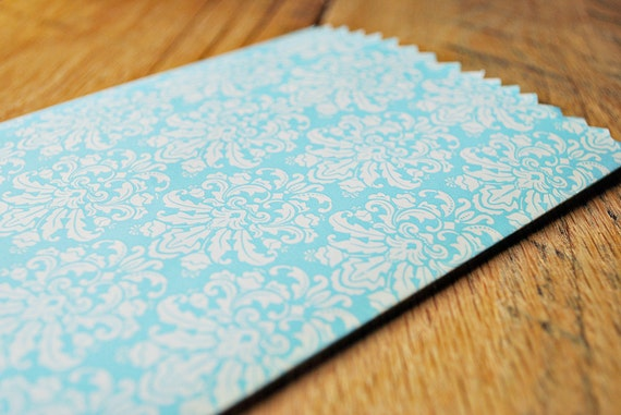 Blue ivory damask treat bags Light blue white goody bags Patterned goodie bags by oscar & ollie