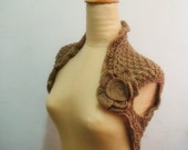 Beige Knit Lace Shrug Flower Brooch