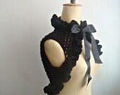 Blck Knit Shrug, Black Lace Shrug, Victorian Romantic Bolero, Hand Knitted Wrap