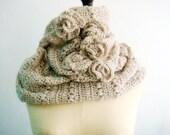 Crochet Roses Cowl Infinity Circle Loop Scarf