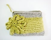Neon Yellow Grey Crochet Clutch Large Flower