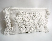 White Wedding Bridal Clutch Crochet Purse Bag