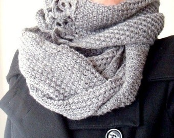 Infinity Scarf, Loop Scarf, Double Cowl Knitting Pattern, Knit Circle Scarf Pattern, Crochet Flowers