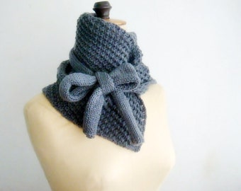 Cowl Knitted NeckWarmer Bow Tied Scarf