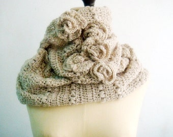 CROCHET PATTERN Circle Scarf Cowl, Crochet Loop Scarf Pattern, Crochet Roses, Infinity Loop Scarf, Snood