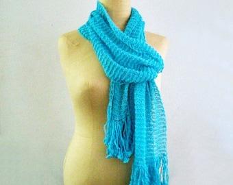 Bright Blue Summer Cotton Scarf