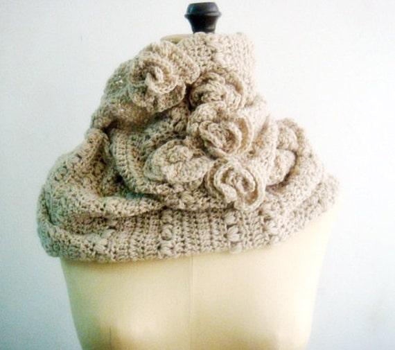 CROCHET PATTERN Circle Scarf Cowl, Crochet Loop Scarf Pattern, Crochet Roses, Infinity Loop Scarf, Snood