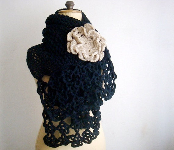 Dark Blue Lacy Hand Knit Scarf with Large Neutral Flower Pin Brooch