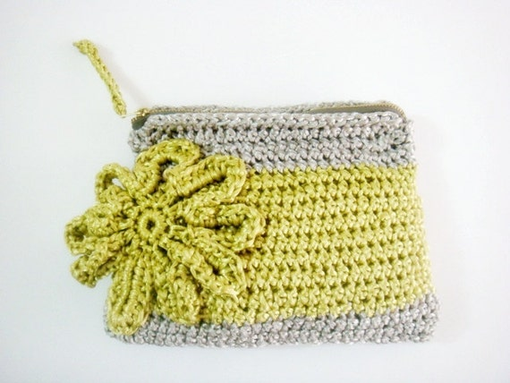 Neon Yellow Grey Crochet Clutch Large Flower