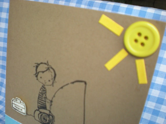 Handmade Stamped Boy Fishing in the Sun