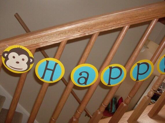 Monkey Banner Monkey Birthday Banner