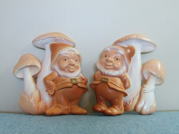 Gnomes and Mushrooms - Chalkware - Miller Studio 1979