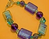 aqua blue crystal glass bracelet