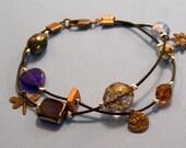 sunflower, dragonfly charm bracelet