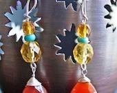 carnelian turquoise wire wrapped earrings