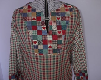 Mad for Plaid Tunic Ladies size Large 12-14 Cotton Fabric