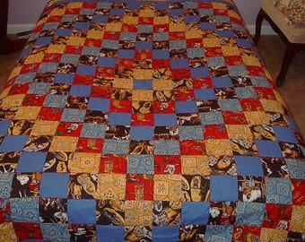 Western Quilt Full Size Cowboys and Indians Hand Tied and Hand Quilted