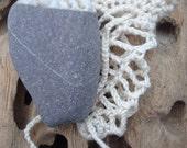 Irish Worry Stone Wishing Stone in Crochet Bag